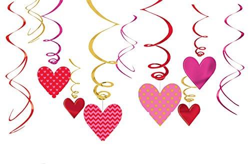 Amscan 670512 Deko-Spiralen Valentinstag
