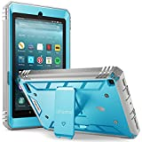 Poetic Revolution New Fire 7 2017 Rugged Case Cover With Hybrid Heavy Duty Protection and Built-In Screen Protector and KickStand for Amazon Fire 7 2017 (7' Tablet, ONLY for 7th Generation 2017 Release) Blue/Gray