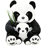 Tickles Mother Panda With Baby Stuffed Soft Plush Toy 28 Cm - Black