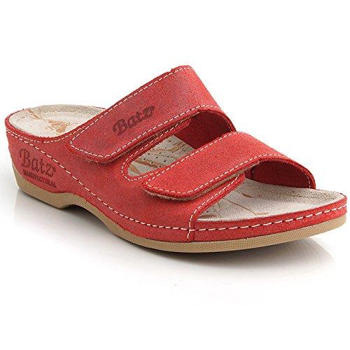 Batz FC03 Hochwertigem Komfortschuhe, Lederschuhe, Pantolette, Sandalette, Damen Rot