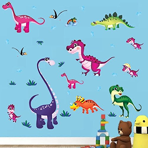 wandsticker4u-colourful-baby-dinosaurs-size-130x100-cm-peel-and-stick-removable-wall-stickers-for-nu