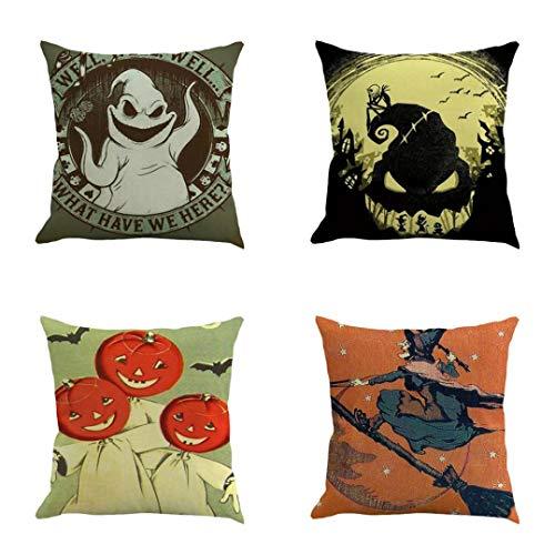GongzhuMM Halloween Décoration Accessoire 4Pcs Maison Voiture Lit Canapé DéCoratif Lettre Taie d'oreiller Housse De Coussin 45x45cm