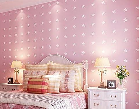 Cartoon Kids Room Wallpaper Boys and Girls Bedroom Mediterranean Nonwoven Wallpaper wallpaper Star green Wallpaper