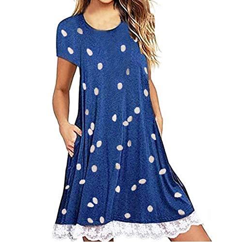 Damen Kleid mit Punktmuster Kurzarm Spitze Panel Casual Kleid böhmischen Tasche Sommer minikleid sonojie