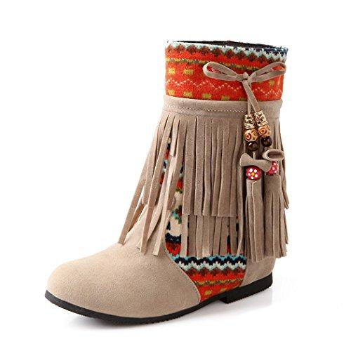 ZQ@QXregalo di Natale L Europa e gli Stati Uniti codice folk scarpe stivali stile colore opaco stivali modello Beige