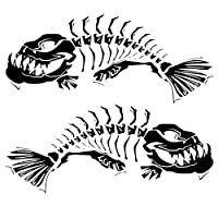 Personalized car stickers 21.6 * 18.7CM 1Pair Skeleton Fish Door Decoration Decals Classic Stylish Car Styling Stickers Accessories C6-0619 csfssd