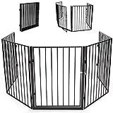 KIDUKU® Kaminschutzgitter mit Tür und Doppelverschluss Metall Laufgitter Laufstall Absperrgitter Türschutzgitter für Kinder-Sicherung, 300 cm Länge, schwarz