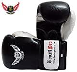 New High Quality BooM Pro Maya Leather Boxing Gloves 10oz 12oz 14oz 16oz 18oz Sparring Punch Bag MMA Muay Thai Training Mitts (Black and White, 14oz)