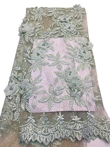 Tessuto di pizzo africano in pizzo 3d, 4,6 m per ricamo nigeria laces, tessuto da sposa francese in tulle per donne verde chiaro