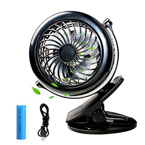 Easthshining Mini Ventilador USB de Mesa con Batería Recargable, Ajustable, Portátil y...