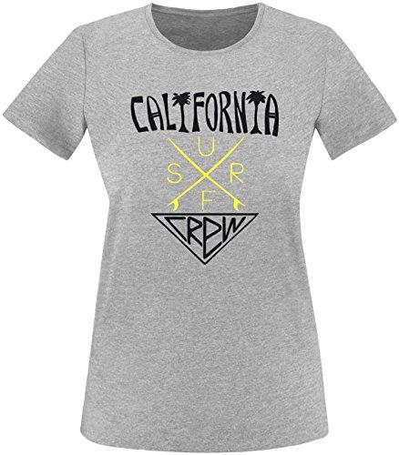 EZYshirt® California Surf Crew Damen Rundhals T-Shirt Grau/Schwarz/Gelb