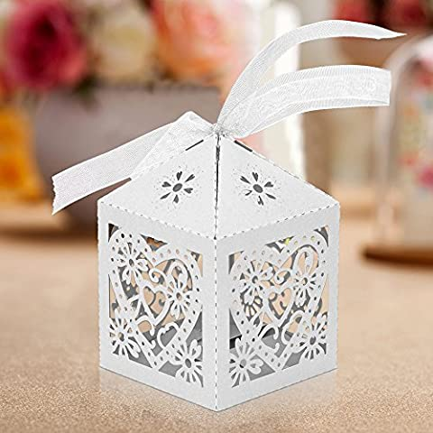 MultiWare 50 pcs Candy Gift Boxes Wedding Favors Candy Sweet Boxes With Free Organza Ribbon For Wedding Party Birthday
