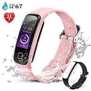 AGPTEK Pulsera Actividad con Pantalla Color y Correa Recambia, Pulsera Reloj Inteligente Impermeable con Podómetro, Monitor Ritmo Cardíaco Sueño Sedentarios GPS para Hombre Mujer Niños, Rosa
