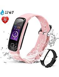 AGPTEK Montre Connectée Etanche IP67 Bracelet Sport Connecté Podomètre Fitness Tracker d'Activité Smartwatch avec Bracelet de Remplacement, Compatible avec iPhone iOS 8.2, Android 4.4-Rose
