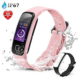 Pulsera de Actividad Inteligente Impermeable IP67, AGPTEK Reloj Deportivo con GPS Podómetro, Monitor de Ritmo, Calorías, Sueño Notificación etc para Hombre Mujer Niños (W05 Rosa)