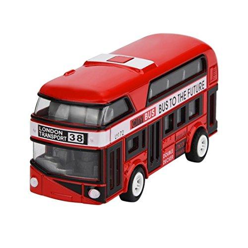 AmaMary Ziehen Sie zurück Autos für Kleinkinder, ziehen Bus-Sammlungs-Modell zurück Doppeldecker-Stadtbus spielt Bus-Legierung Diecast-Stadtbus für Kinderjungen-Mädchen-Farbe gelegentlich