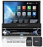 Tristan Auron BT1D7022A Autoradio + DAB+ Box und OBD 2 Adapter, Android 8.1, 7'' Touchscreen Bildschirm, GPS Navigation, Bluetooth Freisprecheinrichtung, Quad Core Prozessor, USB, SD, DAB I 1 DIN