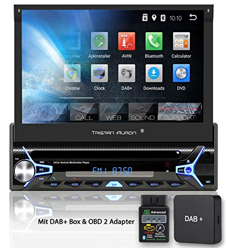 Tristan Auron BT1D7022A Autoradio + DAB+ Box und OBD 2 Adapter, Android 8.1, 7'' Touchscreen Bildschirm, GPS Navigation, Bluetooth Freisprecheinrichtung -