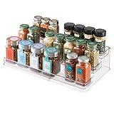 InterDesign Linus Porta spezie a 3 ripiani per la cucina, Mensola portaspezie estendibile in plastica resistente, trasparente