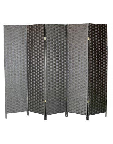 Biombo Negro Maxi Plus de Papel Trenzado montado Sobre Cinco bastidore