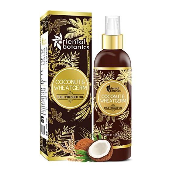 Oriental Botanics Organic Coconut & Wheat Germ Oil For Hair & Skin - 200ml (No Mineral Oil, Silicon or Paraben)