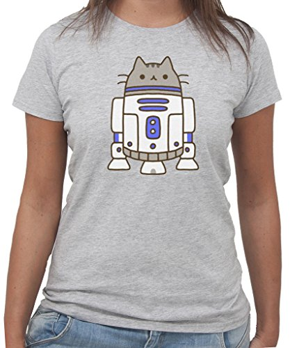 T-Shirt STAR WARS PUSHEEN R2D2 New Indastria by New Indastria - Donna-L-GRIGIO SPORT