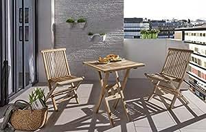 XXS® Balkongruppe Square 3 tlg. 60 x 60 cm, Tisch und 2 Stühle Menorca ohne Armlehnen, Teakholz, Stuhl mit Verstärkung im unteren Bereich