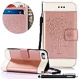 HUDDU Rose Gold Handyhülle Kompatibel mit Samsung Galaxy S7 Schmetterling Muster Hülle PU Leder Tasche Wallet Case Cover Flip Kartenfach Stand Brieftasche Slim Blumen Schutzhülle Klapphülle