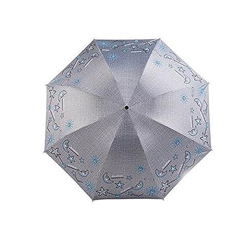 Compact Travel Foldable Umbrella résistant au vent léger avec anti-UV / glissière, Stars, Argent