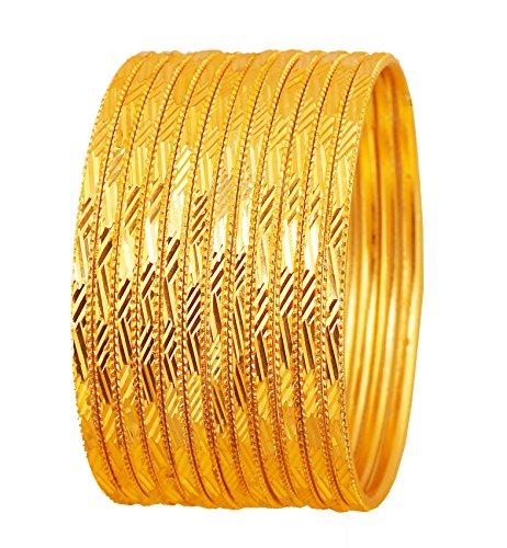 schen Bollywood Artistic Handsäge Arbeit hellgelb Strukturierte Farbe Designer Schmuck Armreif Armbänder. Set von 12. In Antik Gold Ton für Frauen. ()