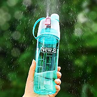 Aliciashouse Creative Outdoor Spray Water Bottle Portable Large Capacity Moisturizing Water Bottle Cup -light blue