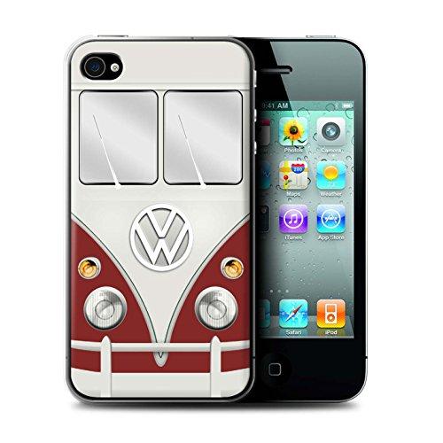 Stuff4 Hülle / Case für Apple iPhone 4/4S / Fjord Blau Muster / Retro T1 Wohnmobil Bus Kollektion Titan Rot