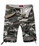 NiSeng Herren Outdoor Camouflage Cargo Shorts Military Airborne Vintage Sommer Kurze Hosen Weiß 38