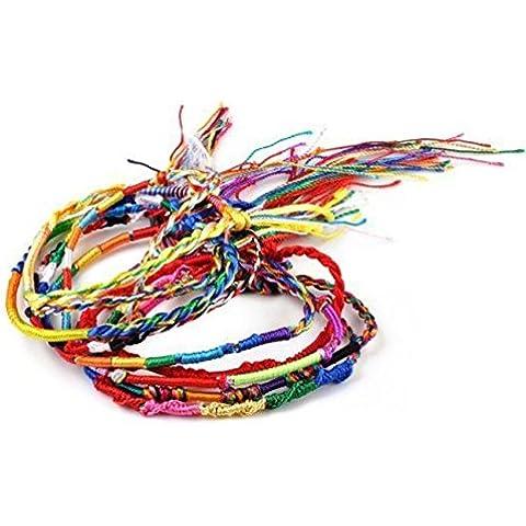 10x assortiti in tessuto Arcobaleno braccialetto dell' amicizia. Colorato corda intrecciata braccialetto–dojore