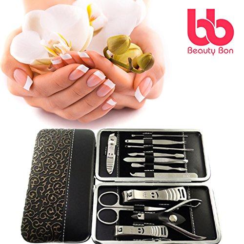 Beauty Bon, kit per manicure e pedicure, tagliaunghie personale, 12pezzi, in acciaio inox, kit con custodia da viaggio, set tutto in uno per la cura della bellezza