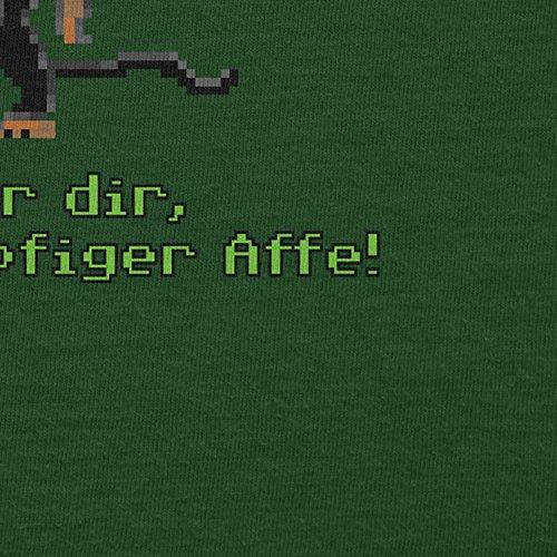 NERDO - Dreiköpfiger Affe - Herren T-Shirt Flaschengrün