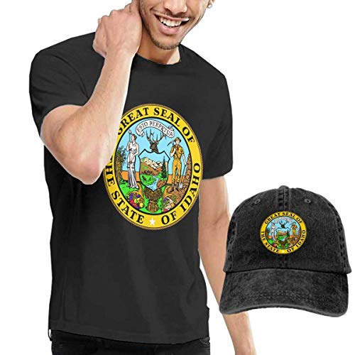 Herren Kurzarmshirt,T-Stücke,Seal of Idaho State Short Sleeve T-Shirts Black (with A Cap) ComfortSoft Man's T Shirts Graphic Funny Round Neck Tee Basketball Hats Combination - Idaho State Seal
