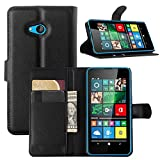 Tasche für Microsoft Lumia 640 Dual-SIM Hülle, Ycloud PU Ledertasche Flip Cover Wallet Case Handyhülle mit Stand Function Credit Card Slots Bookstyle Purse Design schwarz