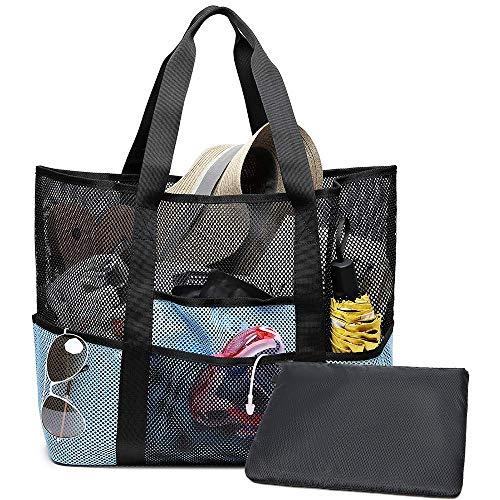 Strandtasche XXL Sommer Tasche Schultertasche Handtasche für Strand Shopper Reise Urlaub (Schwarz/Blau) von Bertasche