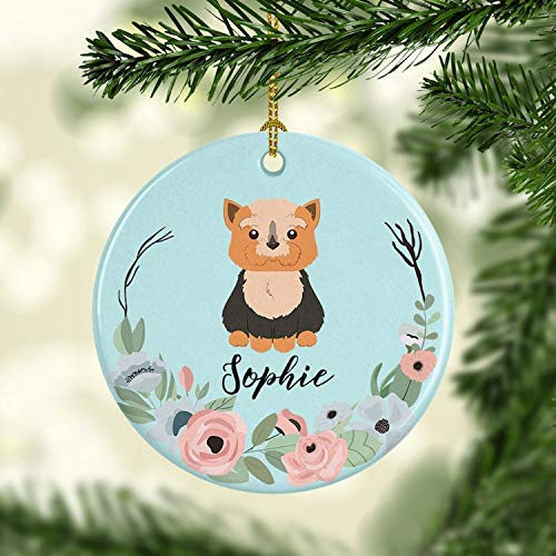 DKISEE Personalized Yorkie Dog Ornament Yorkshire Terrier Christmas Ornament Custom Pet Holiday Ceramic Ornaments Family Dog 3 inch -