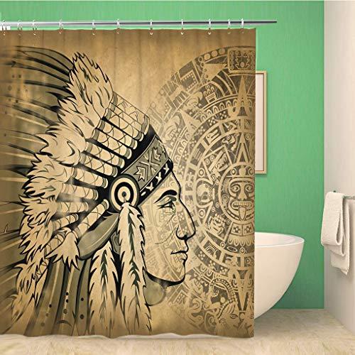 Awowee Decor Duschvorhang, Azteken-Kalender und Gesicht des Mannes, traditionelles Kopfschmuck, 180 x 180 cm, Polyester, wasserdicht, Badvorhänge Set mit Haken für Badezimmer (Aztec Indischen Kostüm)