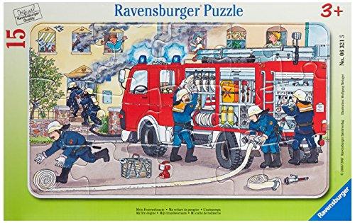 """Preisvergleich Produktbild Ravensburger Kinderpuzzle """"Mein Feuerwehrauto"""" - 06321 / Rahmenpuzzle 15-teilig mit Feuerwehr-Motiv - für Kinder ab 3 Jahre"""