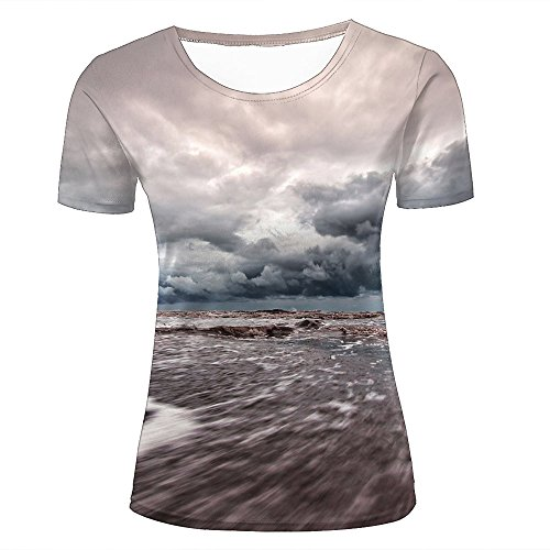 Damen Crewneck 3D Print T-Shirt Storm Taking Over Ocean Creative Graphic Short Sleeve Tee Top Shirts XXL