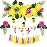 Easy Joy Ballon Summer Party Decoration Fete Ete Ananas Jaune Tassel Guirlande Flamingo Deco Pompon Fushia + Feuille Tropicale Artificielle pour Anniversaire Mariage Garden Party