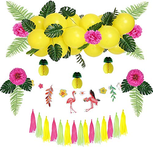 Easy Joy Hawaiian Deko Aloha Hawaii Party | Tropische Blätter | Flamingo Girlande | Sommer Party Supplies (gelb & grün) (Party Gelbe Supplies)