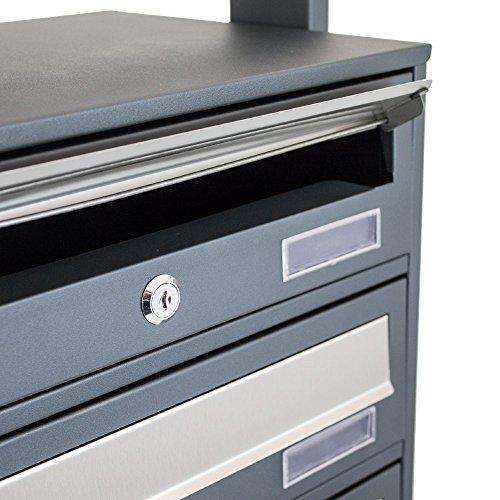BITUXX® Design Stand-Briefkastenanlage Postkasten Letterbox Mailbox Edelstahl Briefklappe mit 3 Fächer Dunkelgrau - 6