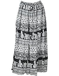 DIAMO Women's Rayon Skirt (Black & White) - B077JYNXT8