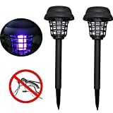 2PC Solarbetriebene LED Licht Moskito Pest Bug Zapper Insekt Killer Lampe Garten Rasen,Timorly Licht Solar Power UV Lampees Gilt für Innen Outdoor Villa(Schwarz)