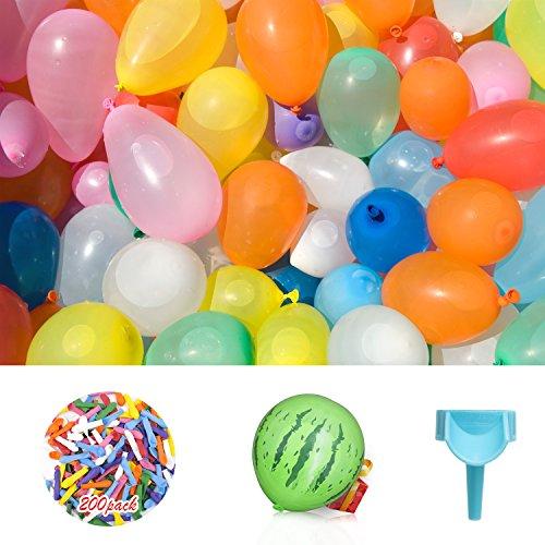 Elegear Globos de Agua 200 Water Ballon para Niños Juegos acuáticos en Verano Rellenos rápidos, Bomba de Agua Juguete acuático Niños (1 * Grande de Estilo sandía y 200 * Globos pequeños)