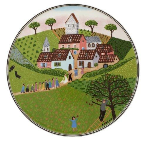 Villeroy & Boch Charm & Breakfast Design Naif Tortenplatte, 30 cm, Premium Porzellan, Weiß/Bunt -